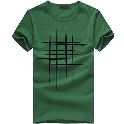 Hanaturu(ハナツル) ストライプ メンズ 半袖 プリント tシャツ 春 夏 ゴルフ スポーツ スウェット インナーシャツ ジム 作業 お揃い 人気 シンプル カジュアルシャツ 大きいサイズ トップス