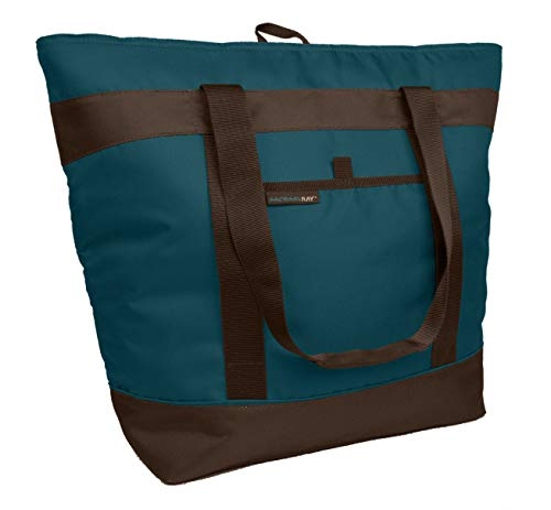 (Rachael Ray Chillout Insulated Tote, Cooler Bag for Grocery Shopping, Transport Hot and Cold Food, Tailgates, Camping, Beach, Reusable, Marine Blue)