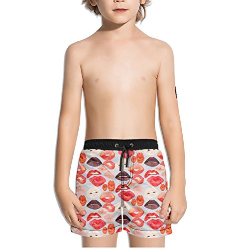 Ouxioaz Boys' Swim Trunk Art Lips Watercolor Beach Board Shorts