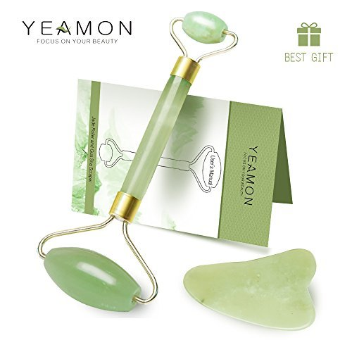Anti Aging Jade Roller for face and Gua Sha Scraping Massage Tool Set Therapy, 100% Natural Jade Facial Roller with Double Neck Slimming Massager, Gift Boxed Included by Yeamon