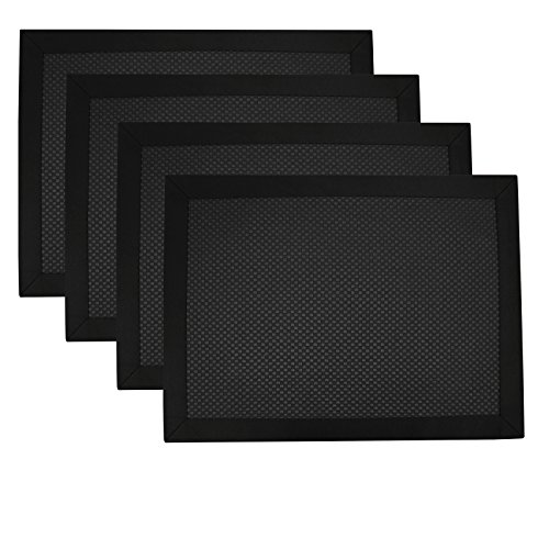 Creative Dining Group Heavy Weight Fabric Italian Waffle Weave Placemats with Satin Border (Set of 4), Black (Italian Dining Table Sets)