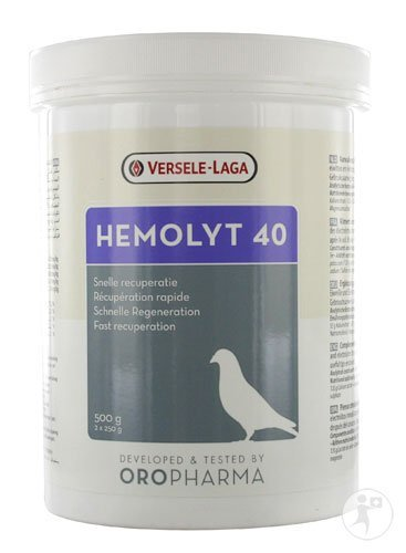 Versele Laga Hemolyt 40 500 gr. For a fast recovery after the race.. For Pigeons, Birds & Poultry