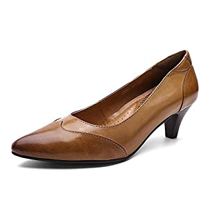 Mona Flying Women's Genuine Leather Shoes for Women Office Med Heels Pointed Toe Vintage Dress Shoes Pump