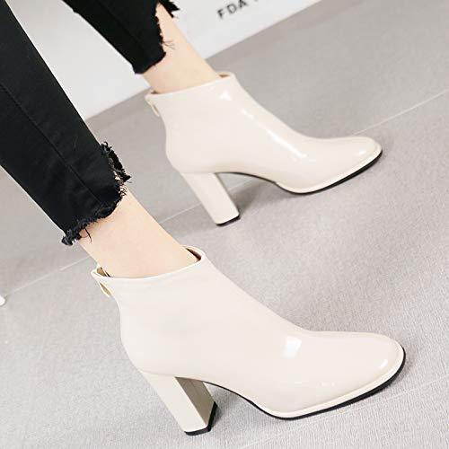 Moda Martin Redonda Mujeres Botas Corte Grueso Profesional Temperamento Salvaje Charol Zapatos De Hrcxue La Cabeza Beige Lateral Altos Cremallera Con Tacones 8qPvxw1