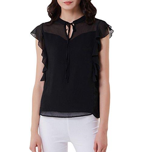 Sleeve Sheer Short Black (GRACE KARIN Women Short Sleeve Ruffle Chiffon Shirt Blouse for Work Plus Size Black XXL)