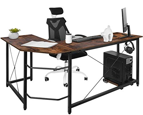Dawoo L Shaped Desk, Gaming Computer Corner Desk Pc Studio Table Workstation for Home Office,150cm(L)*55cm(W)*75cm(H)(Rustic Brown)