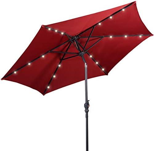 Giantex 9ft Market Patio Umbrella w Solar Lights, Outdoor Table Umbrella w Push Button Tilt and Crank, 180G Polyester and Sturdy Ribs, Sun Umbrellas for Market Garden Beach Pool Burgundy