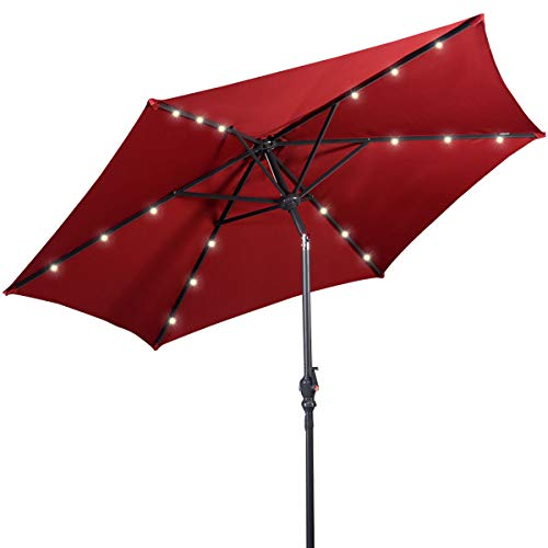 Giantex 9ft Market Patio Umbrella w Solar Lights, Outdoor Table Umbrella w Push Button Tilt and Crank, 180G Polyester and Sturdy Ribs, Sun Umbrellas for Market Garden Beach Pool Burgundy