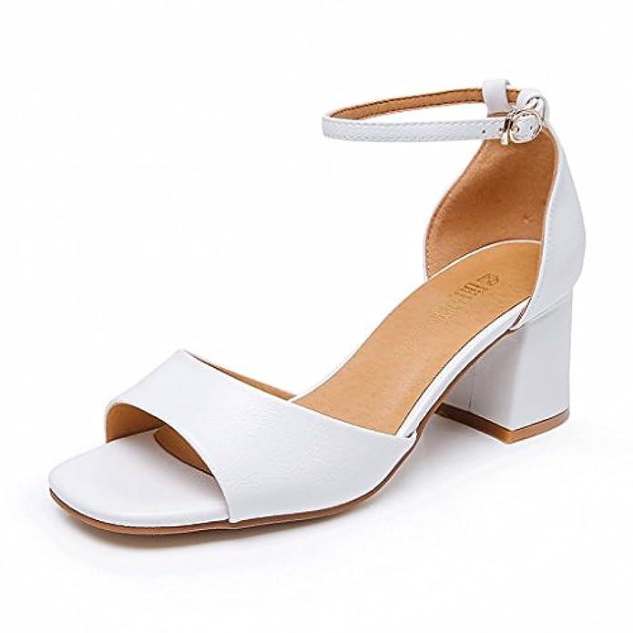 Scarpe Estive Sandali Con Tacco Grezzo Tacchi Alti Semplici colore Bianca Dimensioni Eu36 uk4 cn36