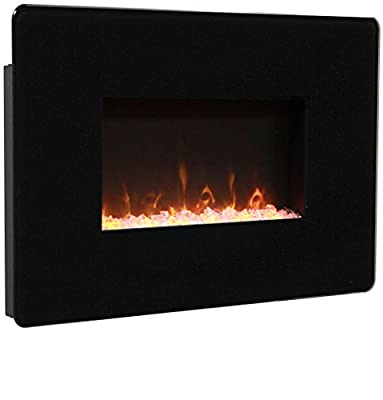 Muskoka MH25BL Pleasant Hearth Wall Mount Fireplace, Black Glass, 25""