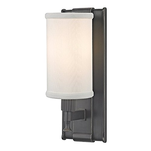 Palmdale 1-Light Wall Sconce - Old Bronze Finish with White Faux Silk - Palmdale Stores