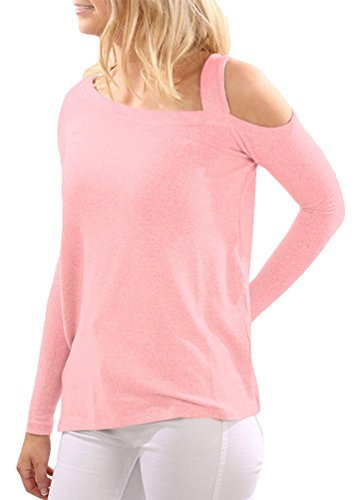 YOUJIA Plain Camisetas Shirts manga larga Cut Out Fuera del hombro Blusa Tops con Split Hem para Mujer Pink