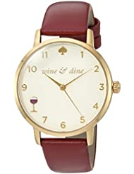 kate spade new york Womens Metro Quartz Stainless Steel and Leather Casual Watch, Color:Red (Model: KSW1188)