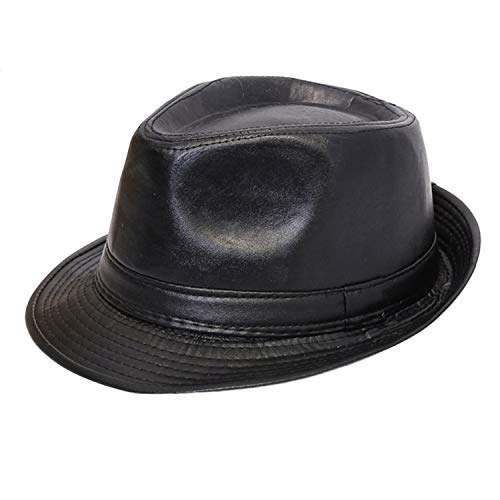 PU Leather Hat Formal Flat with Curling Verge Match All Panama Cowboy Vintage Black Color Gentleman Casual Top Hat Women ()