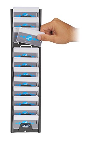 Lathem Badge and ID Card Rack, 12 Pockets, Horizontal, Steel, Charcoal Gray (12-BB)