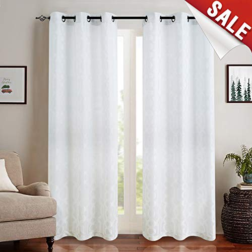 (Jacquard Curtains for Living Room 95 inch Length Trellis Geometric Pattern White Light Filtering Window Curtains for Bedroom Privacy Opaque Drapes, Grommet Top, 2 Panels)