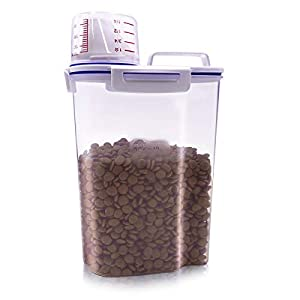 TIOVERY Pet Food Storage Container, Small Dog Food Container Airtight Plastic Dispenser with Graduated Measuring Cup, Pourable Spout and Portable Collapsible Dog Bowl for Cats Birds Seed 12