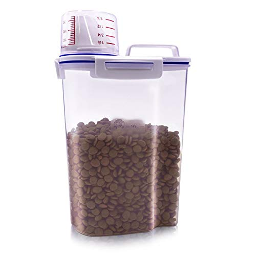 TIOVERY Pet Food Storage Container, Small Dog Food Container Airtight Plastic Dispenser with Graduated Measuring Cup, Pour Spout and Portable Handle for Cats Birds ()