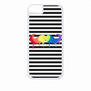 Colorful Dripping Watercolor Mustache on Black and White Stripes- Case for the Apple Iphone 6-Hard White Plastic Outer Shell