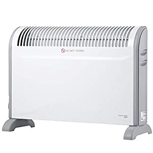 SORTFIELD Convector Radiator Heater with Adjustable Thermostat, 3 Heat Settings (750/1250 / 2000 W) / Timer/Electrical/Convection Heating/Oil-Free Radiator Heater, White