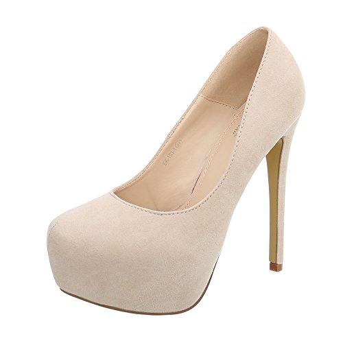 103 alto tacco spillo 1 Design con Ital tacco Scarpe tacco da donna beige Scarpe col EK a Scarpe OaxS0wqxg