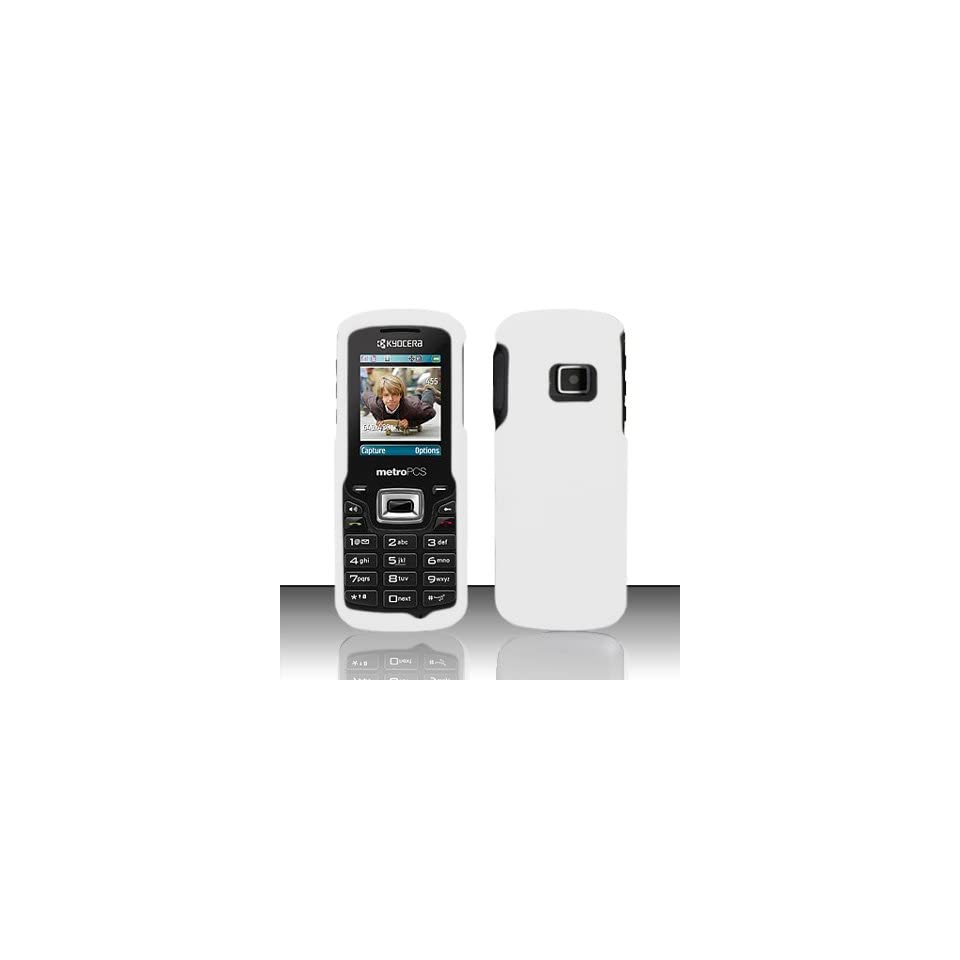 Kyocera Presto S1350 Case Nice White Hard Cover Protector (Metro PCS) with Free Car Charger + Gift Box By Tech Accessories