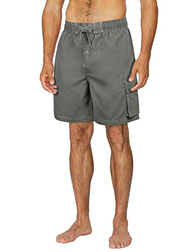 Baleaf Men's Quick Dry Water Swim Trunks Board Shorts with Cargo Pocket Charcoal Size XL