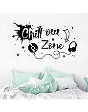 WandSticker4U® - XL muursticker tienerkamer spreuk CHILL OUT ZONE in zwart I wandafbeeldingen: 100 x 57 cm I wanddecoratie woonkamer slaapkamer cool grafitti muziek sticker tieners meisjes & jongens