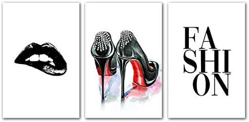 Fashion Heels Lips Wall Art Modern Room Decor For Teen Girls Women Shoes Makeup Poster Black