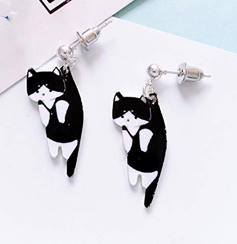 2019 Fashion women stud earrings Animated cartoon cat female stud earrings Printing cute little cat earrings for women Jewelry on .com | Grou,Stud earrings]()