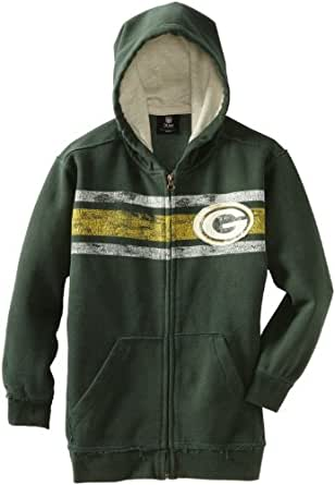 NFL Green Bay Packers 8-20 Youth Long Sleeve Vintage Full Zip Fleece, Green, Small