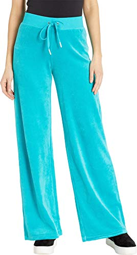 Juicy Couture Women's Bling Malibu Velour Pants Teal X-Large 32