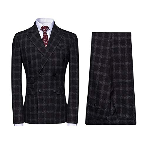 (Mens Plaid 3 Piece Suits Double Breasted Retro Slim Dress)