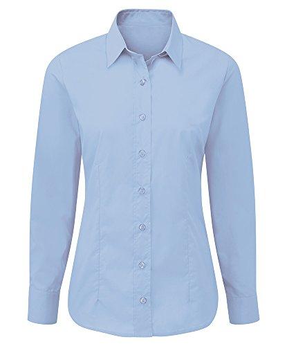 Alexandra stc-nf90pb-08cuidado Camiseta de manga larga para mujer, plain, 65% poliéster/35% algodón, tamaño 8, color azul