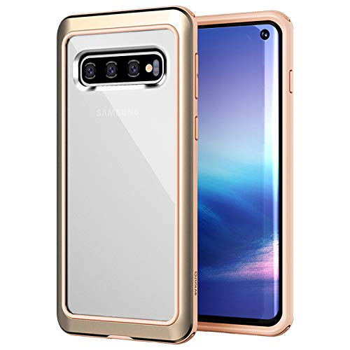 ZUSLAB Designed Clear for Samsung Galaxy S10 Case with Aluminum + TPU Bumper and Transparent Back Cover for S10 Phone Case - Beige & Gold ()
