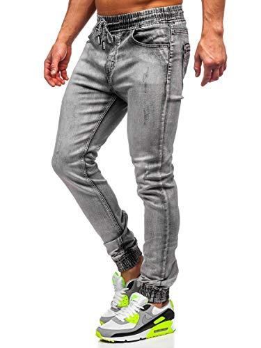 BOLF Homme Pantalon Jeans Jogger Denim Style Jogging Look usé Jambe étroite Détruit Taille Ajustable Slim Fit Casual…