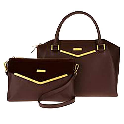 JOY & IMAN Couture Leather Satchel & Crossbody with Velvet Detail - Espresso
