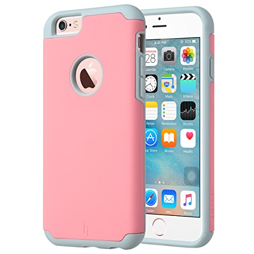 Price comparison product image ULAK iPhone 6 Case, [Slim Fit] Sugar Candy [Anti-Slip] Drop Protection with Shock Absorbent [Hybrid PC & Silicone Case] Cover for Apple iPhone 6s / 6 - [Pink/Grey]