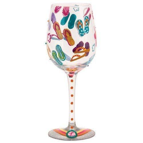 Lolita Flip Flops Too Artisan Painted Wine Glass Gift (Flip Flop Home Decor)