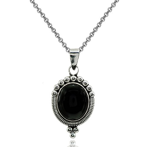 Sterling Silver Simulated Onyx Oval Oxidized Bali Bead Pendant Necklace