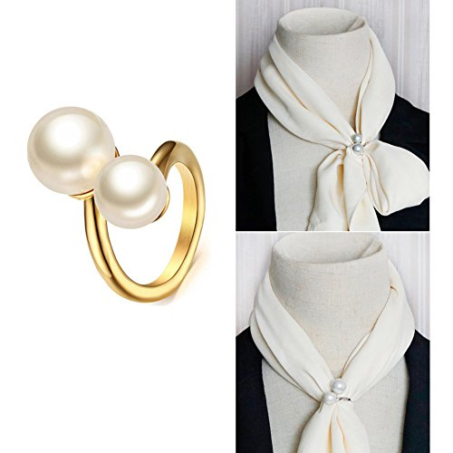 Joyci Simple Circle Design Rings Scarf Buckle Woman's Enchanting Scarf Silk Clip Brooch Pins Clip with Double Pearl (Gold) ()