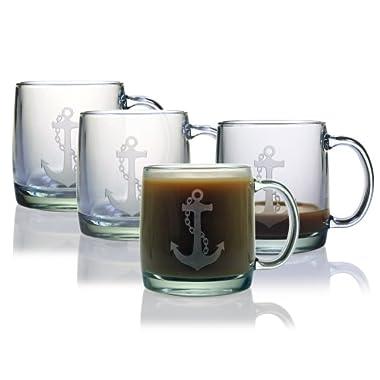 Susquehanna Glass Anchor Coffee Mugs, Set of 4