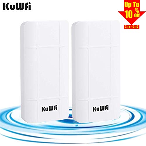 KuWFi 2-Pack Nano Station Outdoor PoE CPE 2.4GHz Wireless Bridge Kit, 300Mbps Pre-configured CPE Kit,Indoor & Outdoor Point to Point Wireless Bridge Client Bridge/CPE Support 24V POE [Pre-Pairing]
