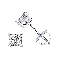 Sterling Silver Princess Cut Diamond Engagement Studs