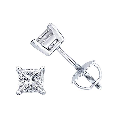 (Brilliant 5mm Princess Cut Black Diamond .925 Sterling Silver 4-Prong Engagement Stud Earring Screw Back Postss For Girl's & Women's)