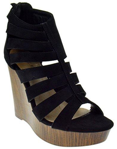 Mark & Maddox Victor 02 Peep Toe High Heel Caged Wedge Platform Sandals Black Suede 9 (Wedge Wood Sandal)