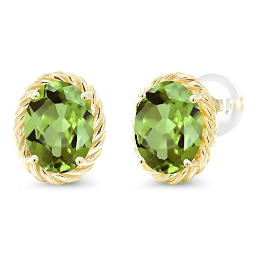 Gem Stone King Green Peridot 14K Yellow Gold Twist Stud Earrings 2.66 Ct Gemstone Birthstone Oval 8X6MM