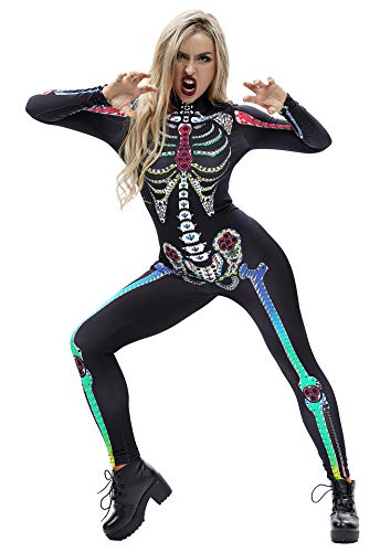Honeystore Women's Skeleton Halloween Costume Catsuit Bodysuit Cosplay Jumpsuits BAX015 M