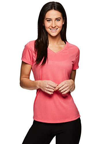 RBX Active Women's Short Sleeve V-Neck Workout Running Yoga T-Shirt S19 Coral L