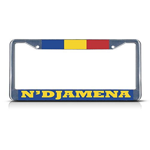 Chad N'Djamena Metal License Plate Frame Tag Border Two Holes Perfect for Men Women Car garadge Decor